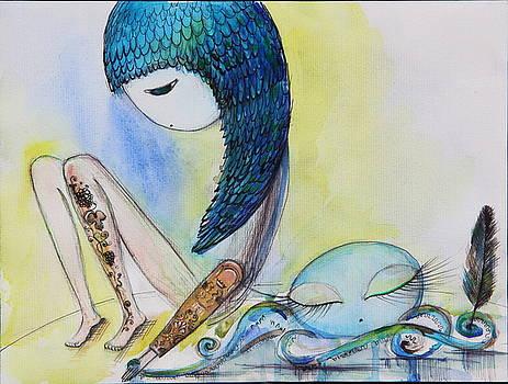 Girl with octopus  by Nino Gabashvili