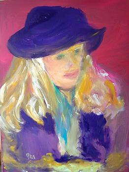 Patricia Taylor - Girl With Purple Hat Study