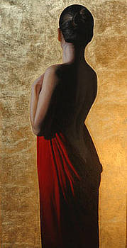 Girl With Red Drape With Gold by Toby Boothman