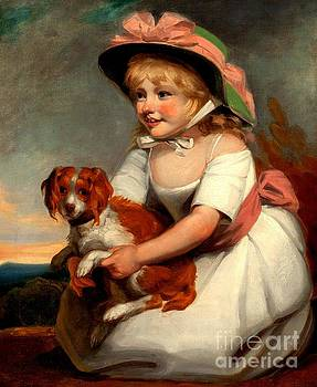Peter Ogden - Girl with Spaniel Portrait of Sophy Elizabeth Burney 1790