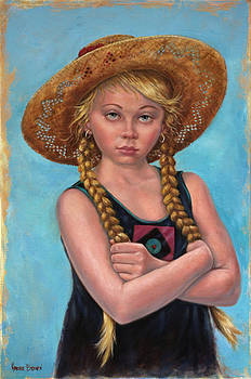 Girl with Straw Hat by Harvie Brown