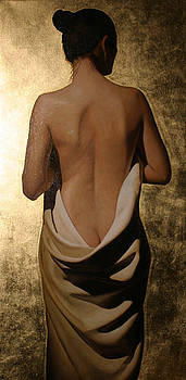 Girl With White Drape With Gold Leaf by Toby Boothman