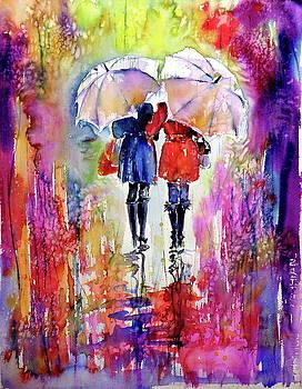 Girlfriends under umbrella by Kovacs Anna Brigitta