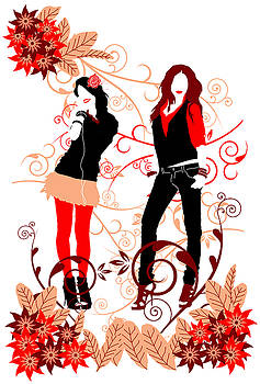 Girls And Red  by Adz Akin