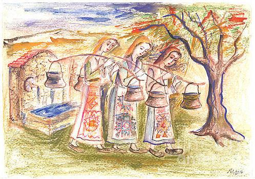 Girls carry water by Milen Litchkov