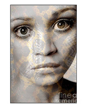 Girls face with snake skin texture by Michael Edwards