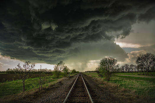 Give Me Shelter - Storm Over Railroad Tracks Near Salina Kansas by Sean Ramsey