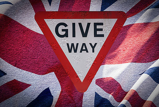 Jacek Wojnarowski - Give Way Sign with Union Jack Flag Fine Art
