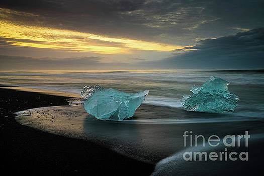 Glacial Ice Duet on the Beaches of Iceland by Mike Reid