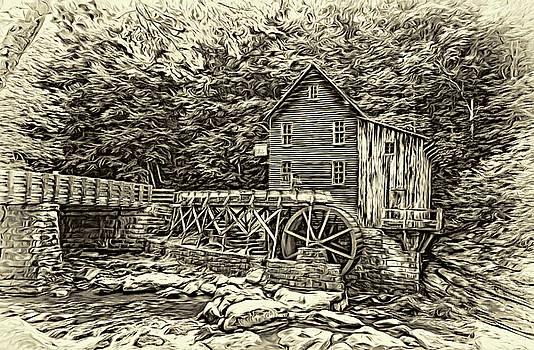 Glade Creek Grist Mill 2 - Paint 2 Sepia by Steve Harrington