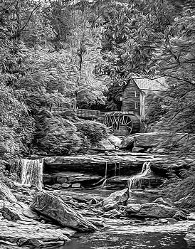 Glade Creek Grist Mill 3 - Paint 2 bw by Steve Harrington
