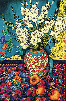 Richard Lee - Gladioli, Kimono, Plate and Pomegranates