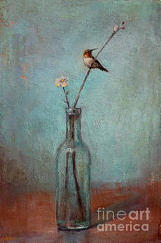 Glass Bottle and Hummingbird by Lori  McNee