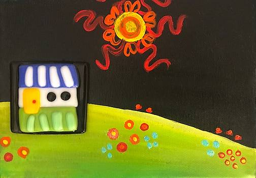 Glass House on the Hill Mixed Media Painting by Shelley Overton