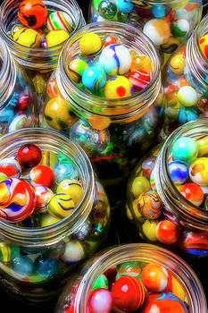Glass Jars Full Of Colorful Marbles by Garry Gay