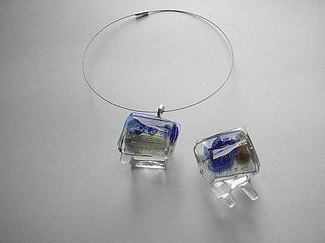 Glass Necklace And Glass Brooch by Jolanta Sokalska