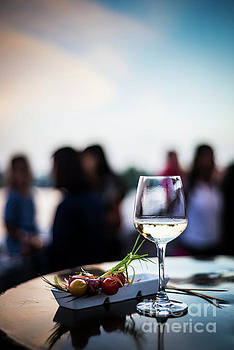 Glass Of White Wine With Gourmet Food Tapa Snacks Outside by Jacek Malipan
