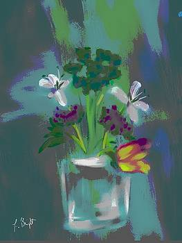 Glass Vase and Flowers Abstract by Frank Bright