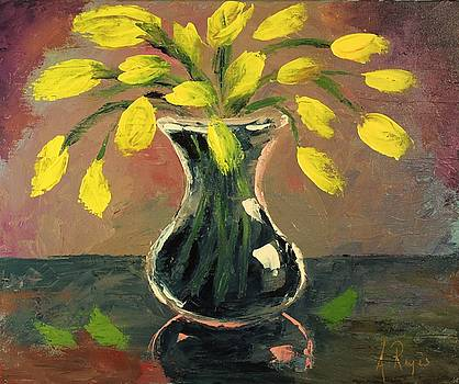 Glass Vase and Yellow Flowers by Angel Reyes