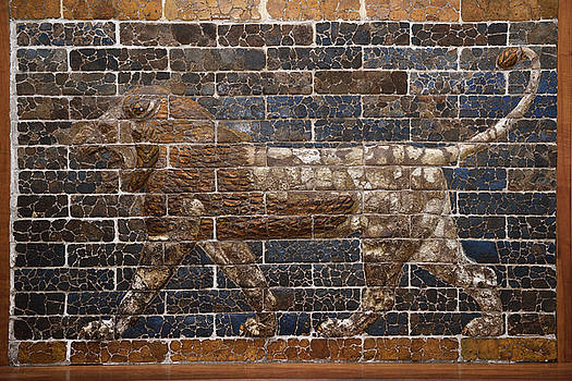Reimar Gaertner - Glazed brick wall relief of lion from the 6th century BC neo Bab