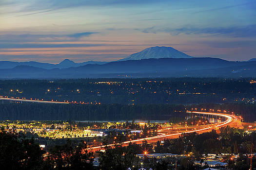 Glenn L Jackson Bridge and Mount Saint Helens after sunset by David Gn