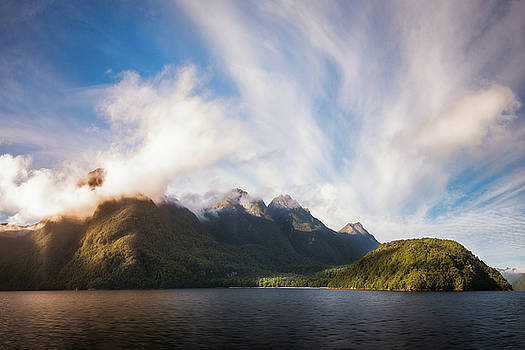 Glorious Light early in the Morning on Lake Manapouri by Daniela Constantinescu