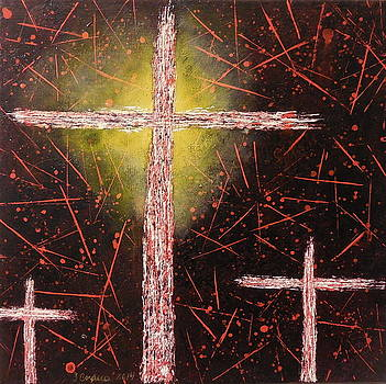 Glowing Abstract Crosses with Black Background by Tara Cordero