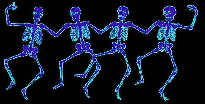 Glowing Dancing Skeletons by Jennifer Hotai