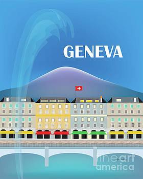 Geneva, Jet d'Eau fountain, Switzerland Vertical Skyline by Karen Young