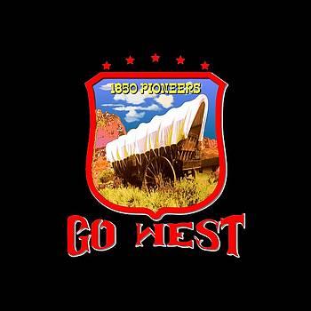 Art America Gallery Peter Potter - Go West Pioneer - Tshirt Design