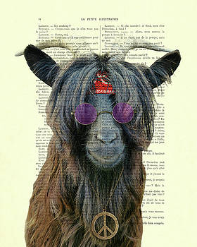 Goat in hippie clothes with purple glasses and peace necklace by Madame Memento