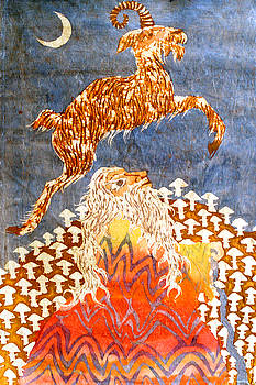Goat Leaping Over Wood Elf by Carol  Law Conklin