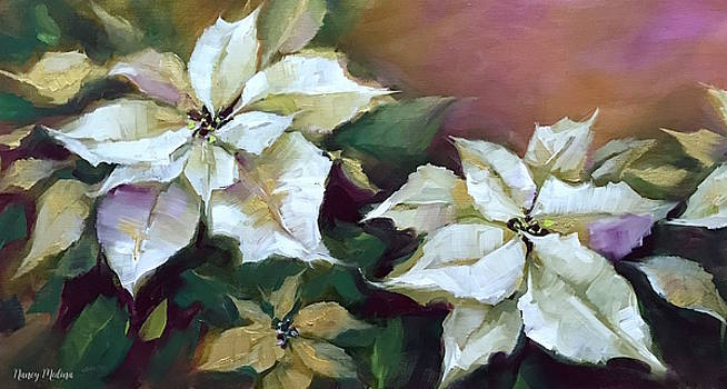 Gold and Silver Silent Night Poinsettias by Nancy Medina
