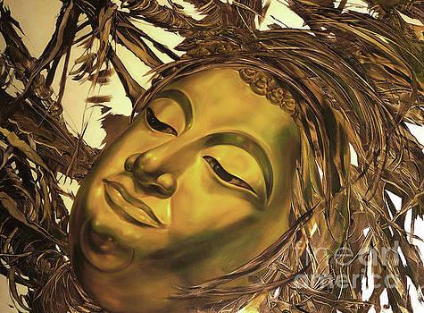 Gold Buddha head by Chonkhet Phanwichien