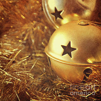 Gold Christmas baubles and tinsel by Lyn Randle