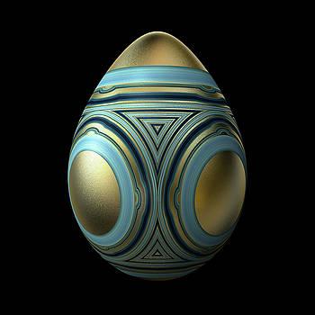 Hakon Soreide - Gold Egg with Blue Enamel Decoration