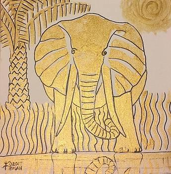 Gold Elephant Stamp by Julie Pitman