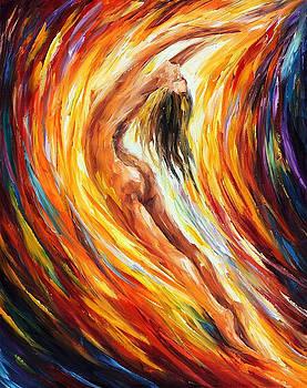 Gold Falls - PALETTE KNIFE Oil Painting On Canvas By Leonid Afremov by Leonid Afremov