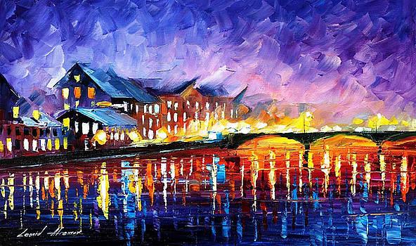 Gold Harbor - PALETTE KNIFE Oil Painting On Canvas By Leonid Afremov by Leonid Afremov