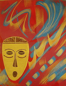 Gold Mask on Red by Sheila J Hall