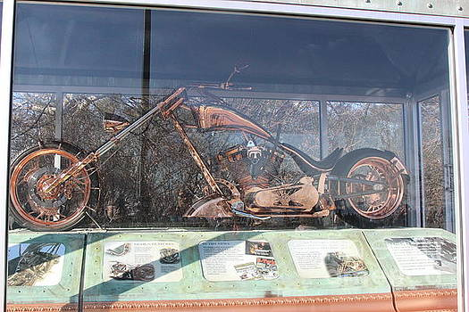 Chuck Kuhn - Gold Motorcycle Statue of Liberty