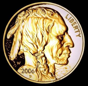 Gold Nugget Buffalo Nickel by Fred Larucci