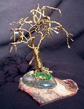 GOLD OAK WITH LEAVES wire tree sculpture by Sal Villano