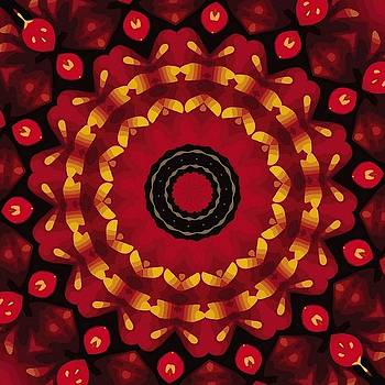 Gold On Red Mandala by Tracey Harrington-Simpson