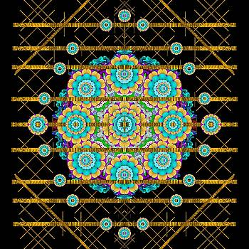 Gold silver and bloom mandala by Pepita Selles