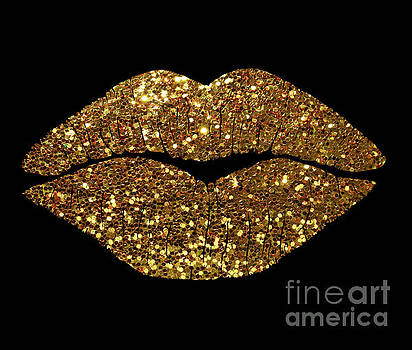 Tina Lavoie - Gold Sparkle Kissing Lips Fashion art