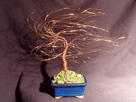 GOLD WIND SWEPT wire tree sculpture by Sal Villano