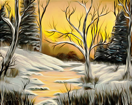 Claude Beaulac -  Golden Birch By Crystal Creek Winter Mirage