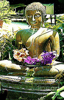 Golden Buddha Holding Flowers by Merton Allen