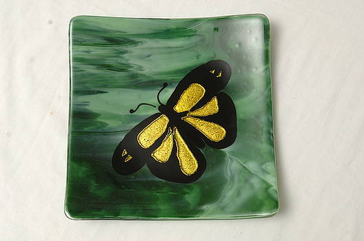 Golden Butterfly on green sushi plate by Sandy Feder
